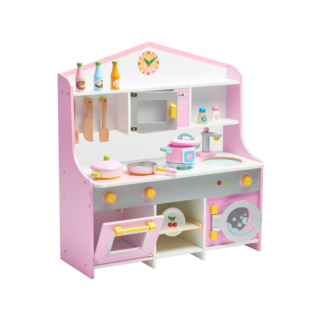 Wooden Pink & White Kitchen Set With Accessories - Pretend Play Toy