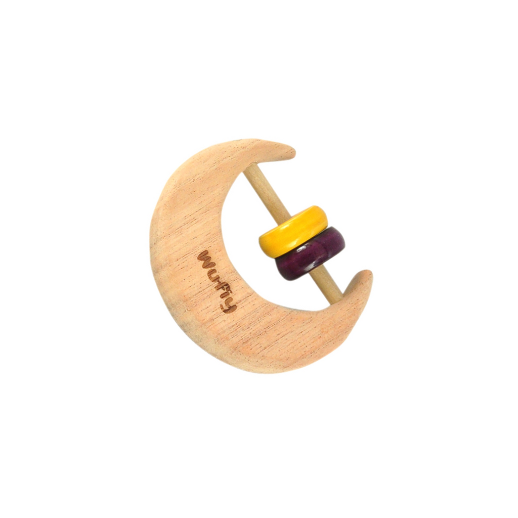 Half Moon Neem Wood Baby Rattle - Purple & Yellow