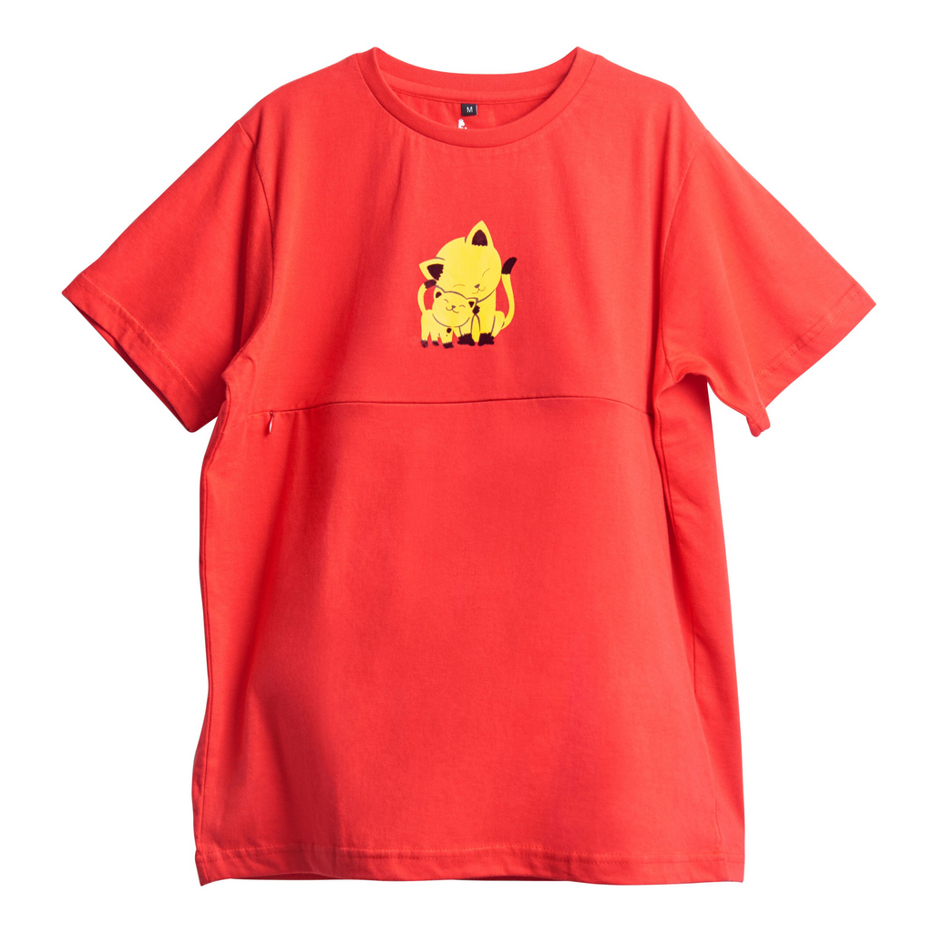 Easy Feeding Maternity T-Shirts Cat Flock Print | Red | Free Neem Teether