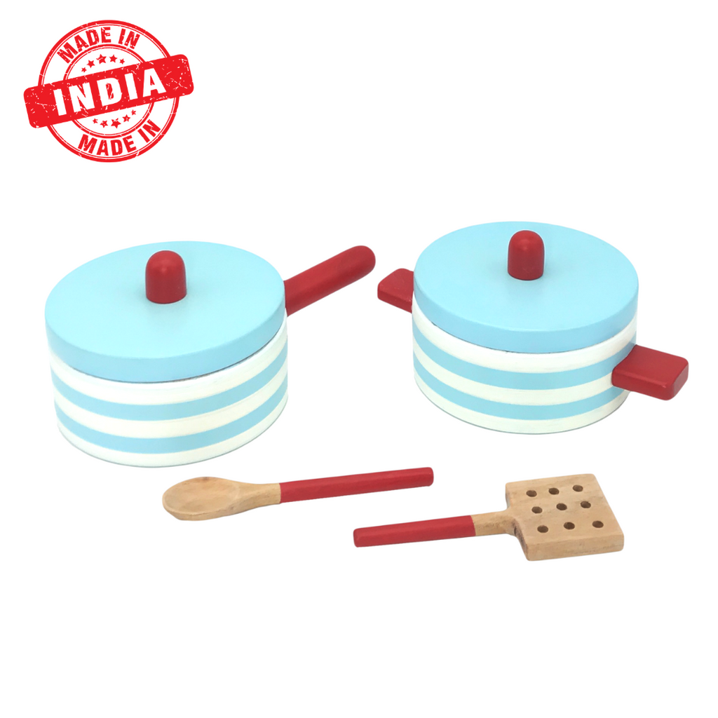 Wooden Pot & Pan Set With 2 Spoons