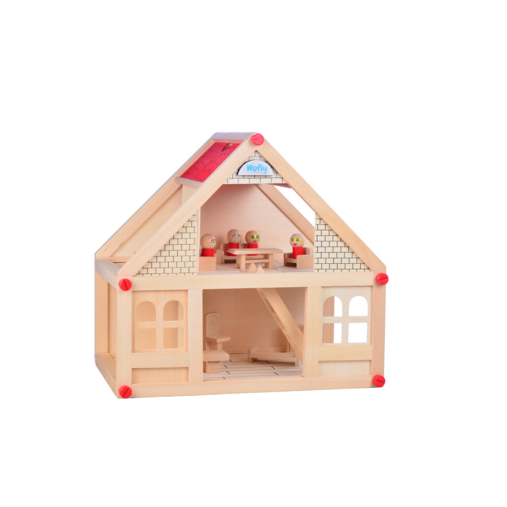 Wooden Mini Villa / Doll House Set - With All The Furnitures