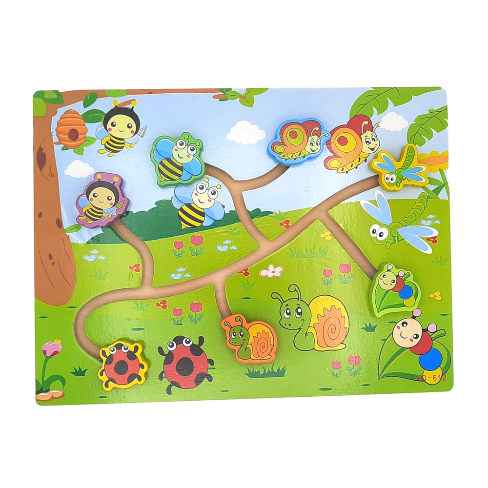 Wooden Path Finding Board Game/Puzzle - Bugs
