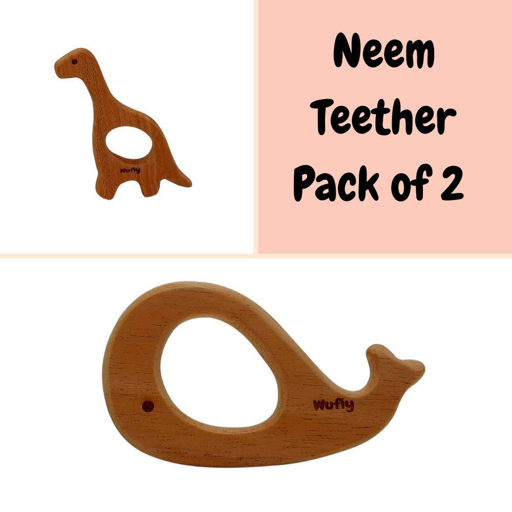 Dinosaur & Whale Neem Wood Teether (Pack of 2) + Cotton Bag