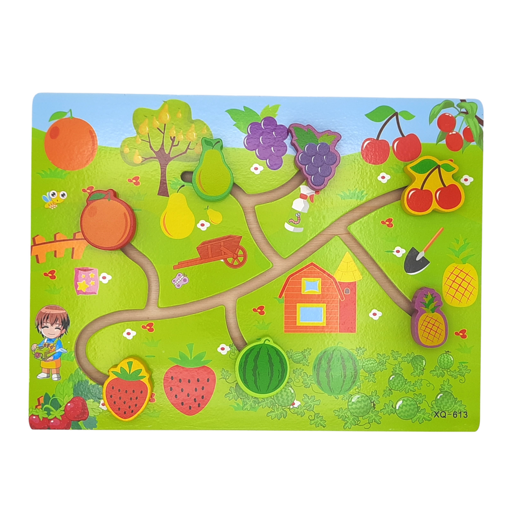 Wooden Path Finding Board Game/Puzzle - Fruits