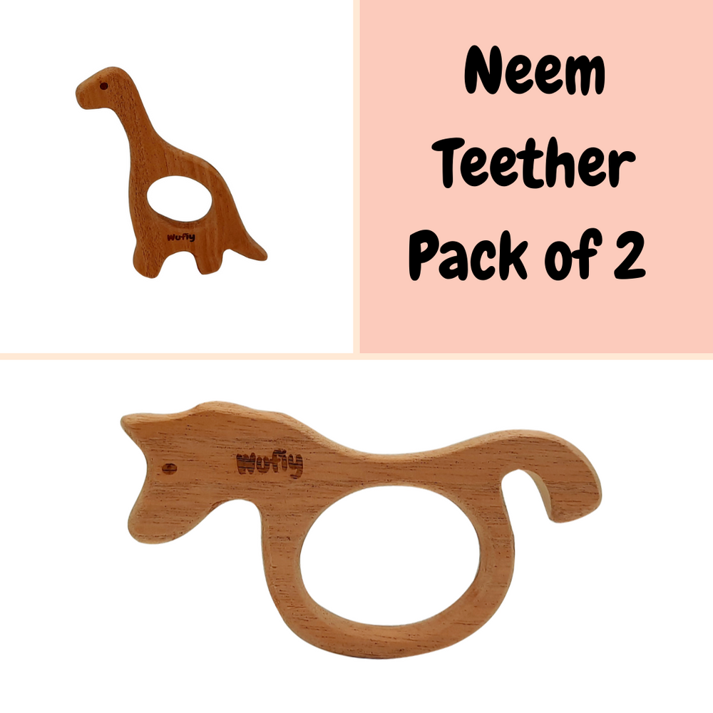 Dinosaur & Sea Horse Neem Wood Teether (Pack of 2) + Cotton Bag