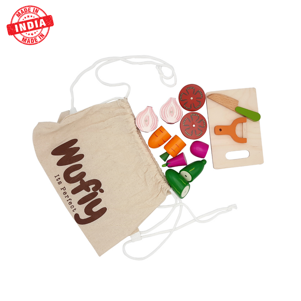 Vegetable Cutting Set + Cotton Bag - Hand painted
