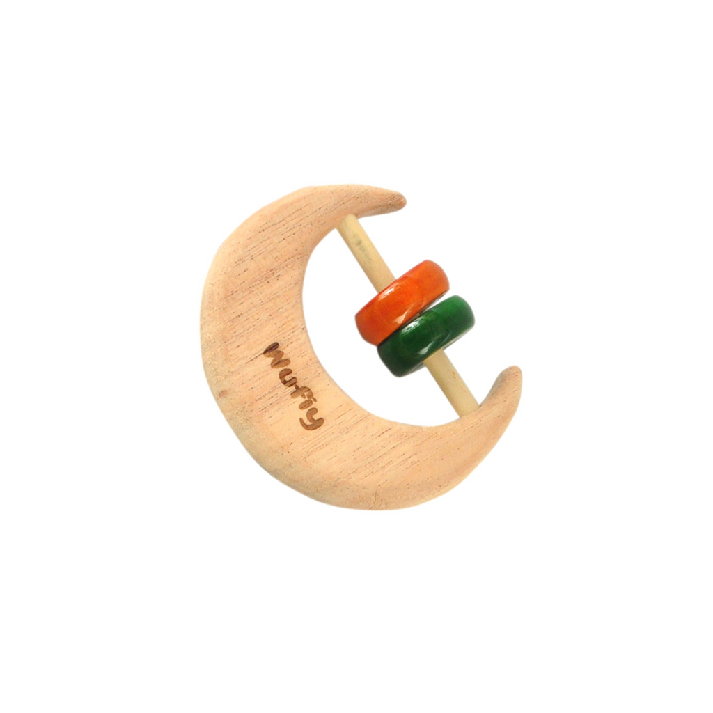 Half Moon Neem Wood Baby Rattle - Red & Green