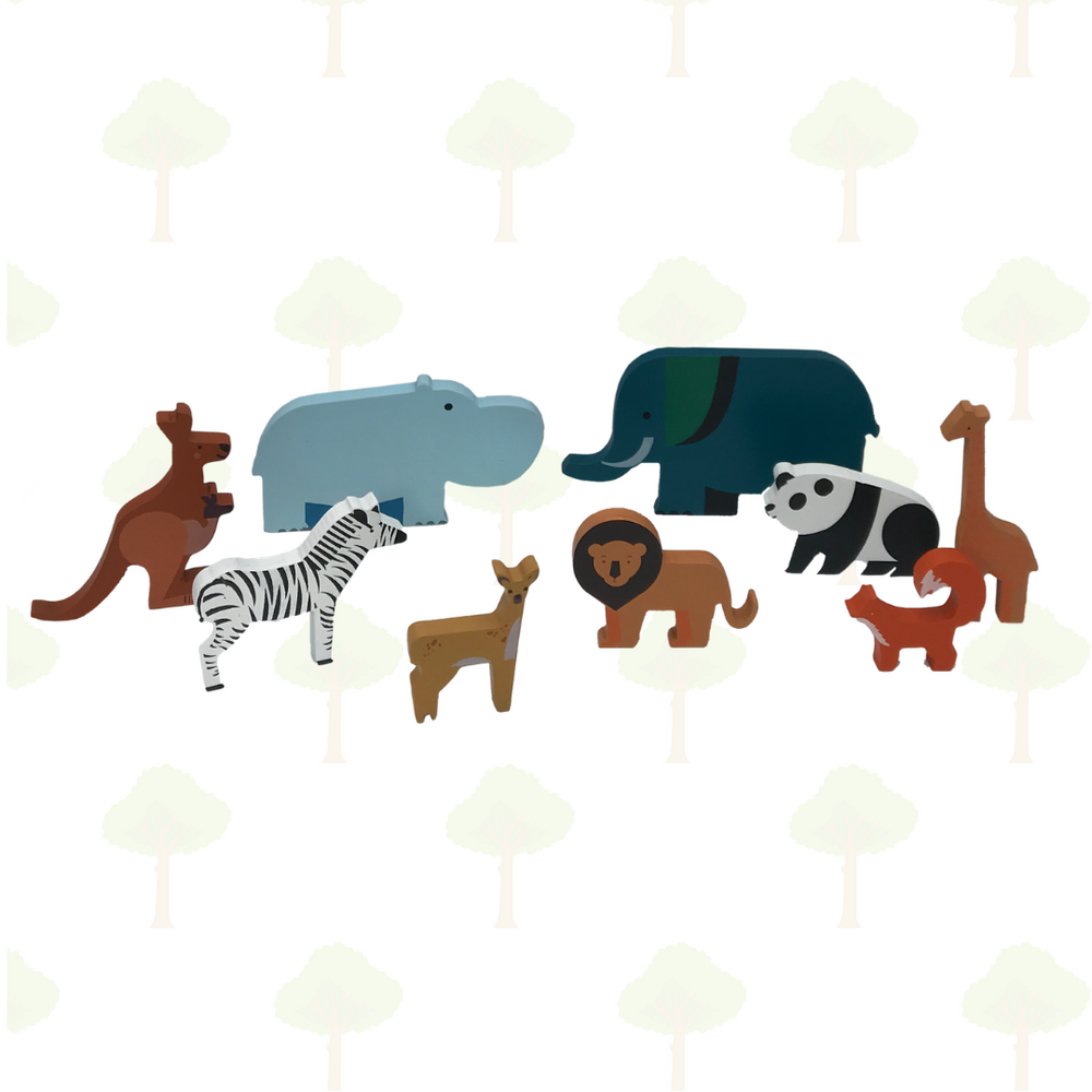 Forest Safari, Set of 9 Wild Animals - Stacking Toy + Cotton Bag