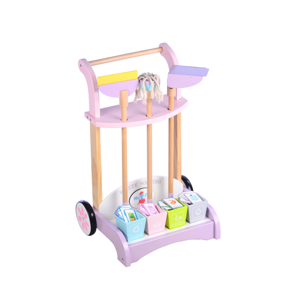 Wufiy Wooden Cleaning Cart Trolley/Set - 35cmX29cmX52cm