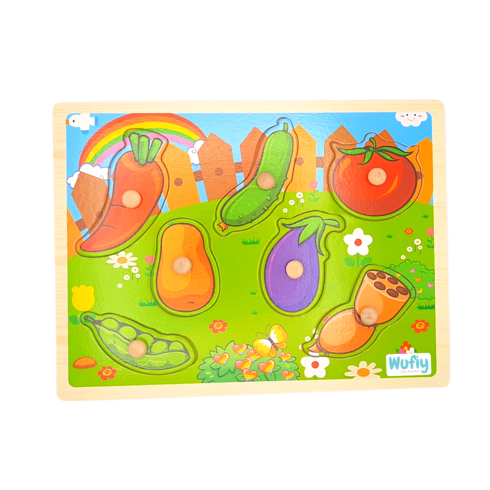 Wooden Knob Peg Puzzle - Different Vegetables