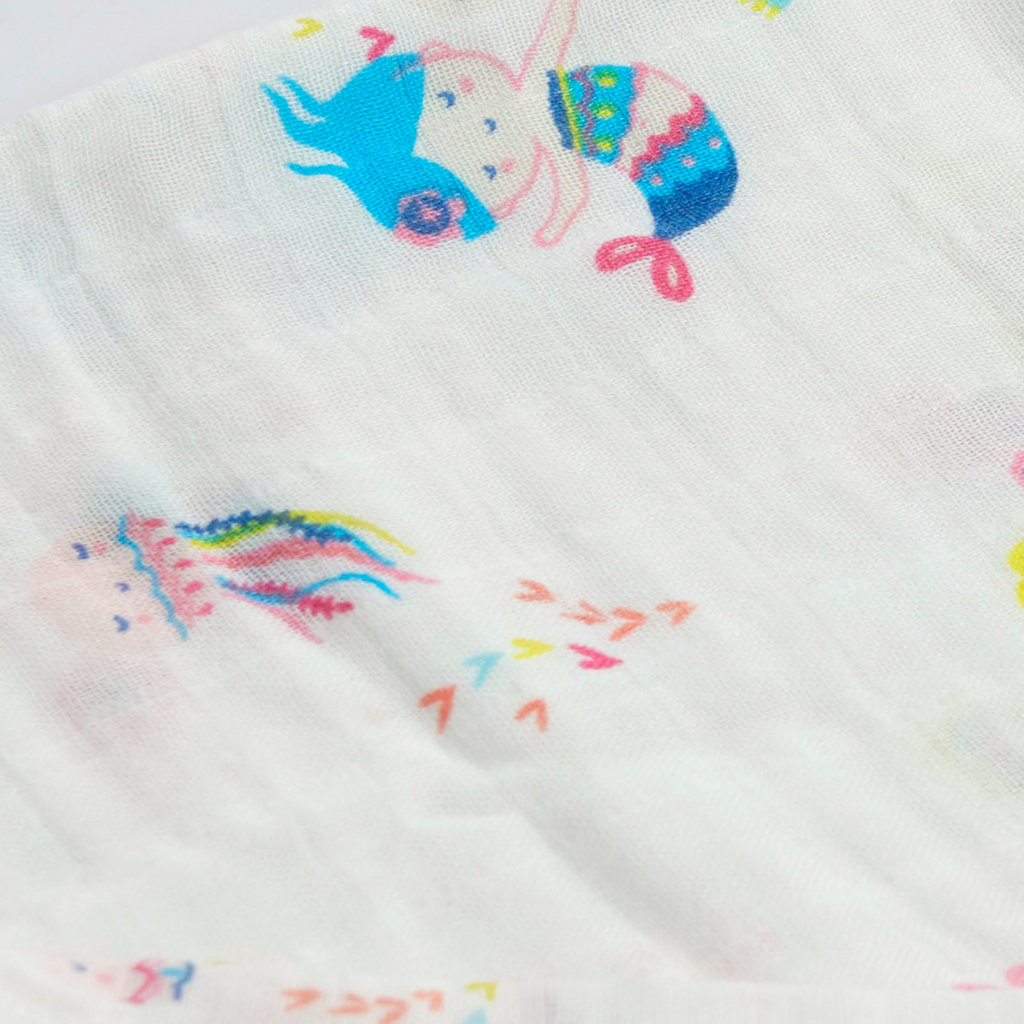 Baby Swaddle | Mermaid & Fish Print | 100% Bamboo Muslin