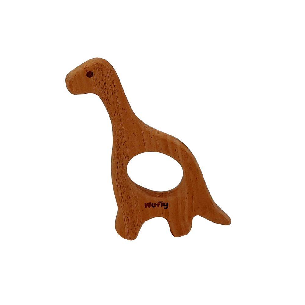 Dinosaur Shape Neem Teether + Cotton Bag