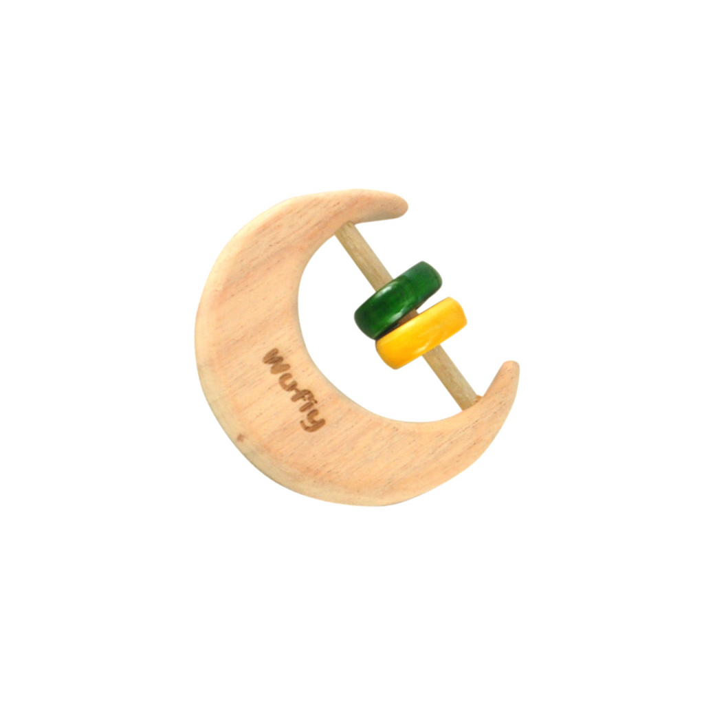 Half Moon Neem Wood Baby Rattle -  Green & Yellow