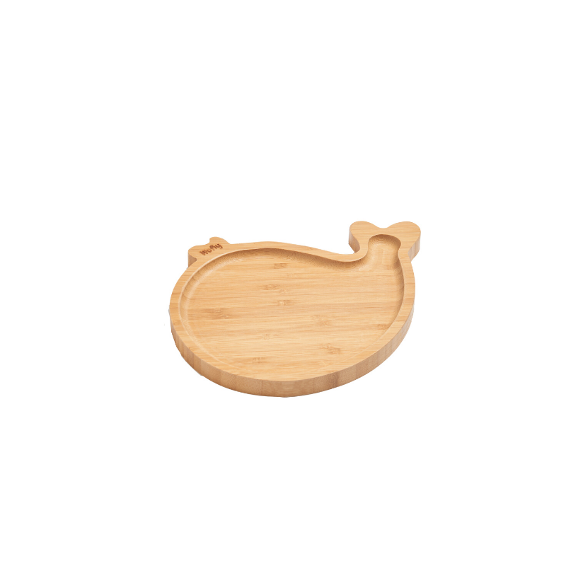 WUFIY WOODEN WHALE SHAPE PLATE + FREE SET OF SPOONS