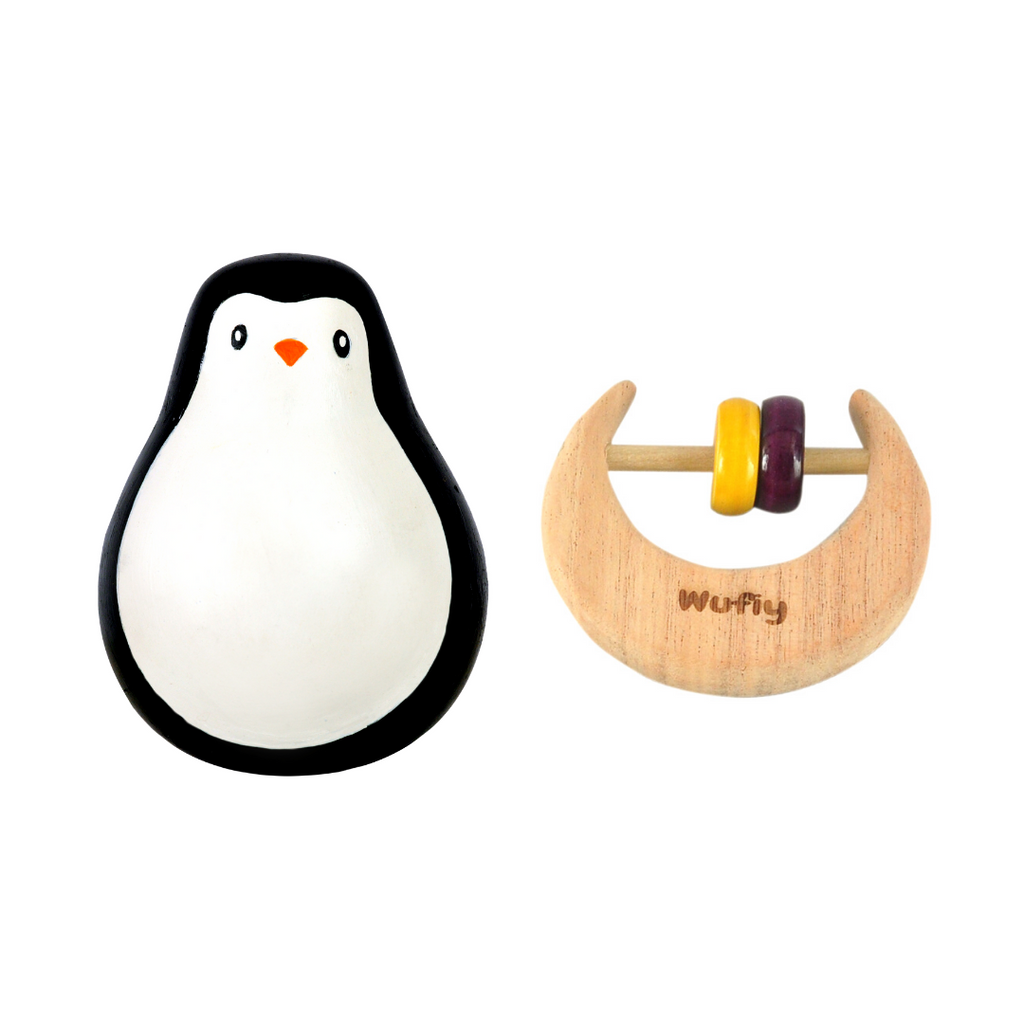 Penguin Wobbling Toy | Roly Poly Baby Toy + Half Moon Shaped Neem Wood Rattle