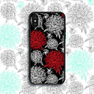Black and Red Flowers Phone Case