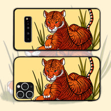Load image into Gallery viewer, Malayan Tiger Resting Among Tall Grass Phone Case
