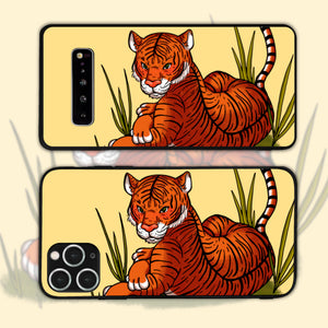 Malayan Tiger Resting Among Tall Grass Phone Case