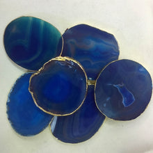 Load image into Gallery viewer, Blue Gold Agate Coasters (2pcs)