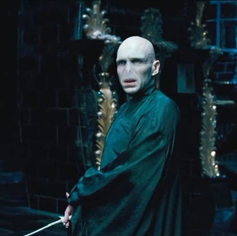 Voldemort from Harry Potter with white face black clothes