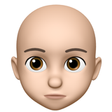 Bald headed animojie with inverted triangle face shape