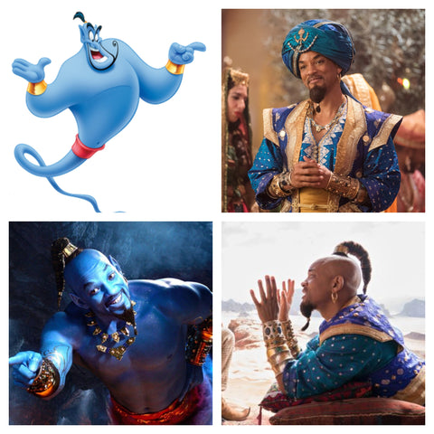 collage of pictures of genie from Alladin