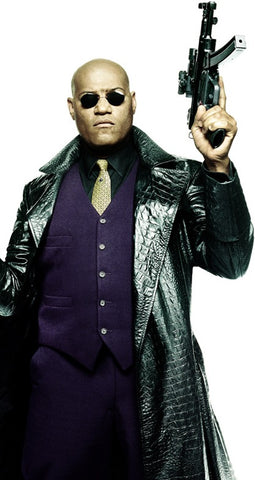 Morpheus from Matrix in black long leather coat and with a gun in his hand