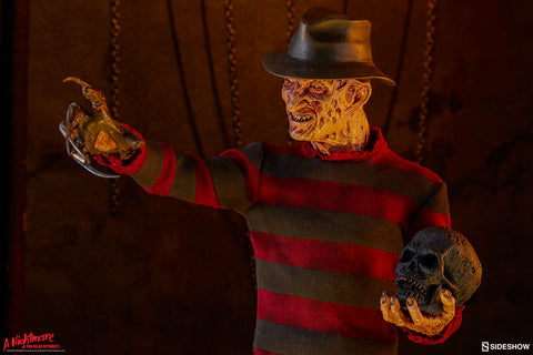 Freddy Krueger with a scalp in his hand