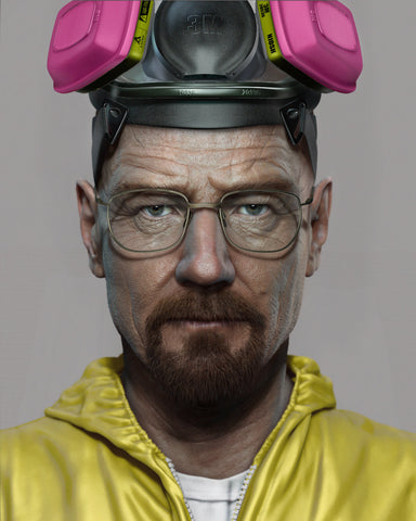 Walter White in yellow jumpsuit and a pink gas mask