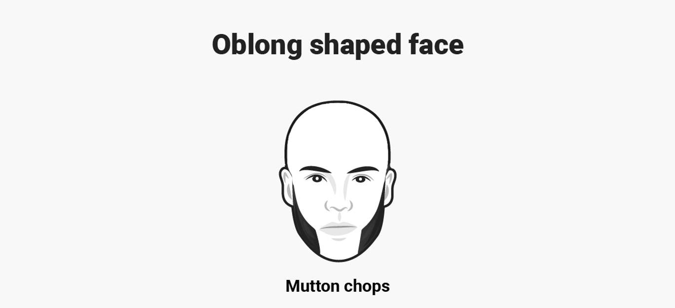 Oblong face with Mutton Chops beard
