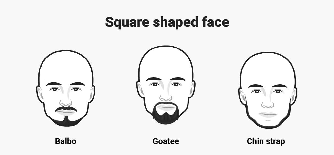Square face with Balbo, Goatee, Chin strap beard