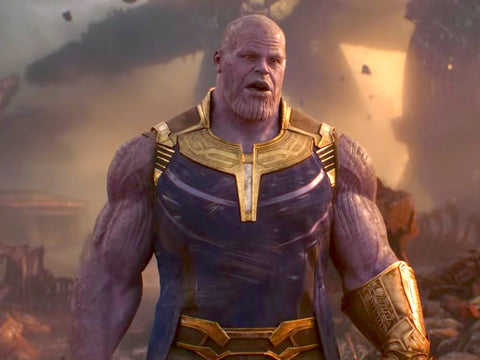 Thanos from Avengers standing with his hands down