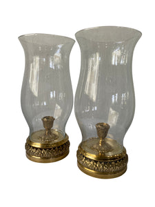 Vintage Brass and Seeded Glass Hurricane Candle Holders (Pair)