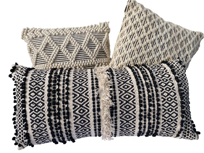 Black & White Bohemian Accent Pillows (Set of 3)