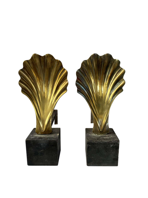 Vintage Brass Shell Andirons