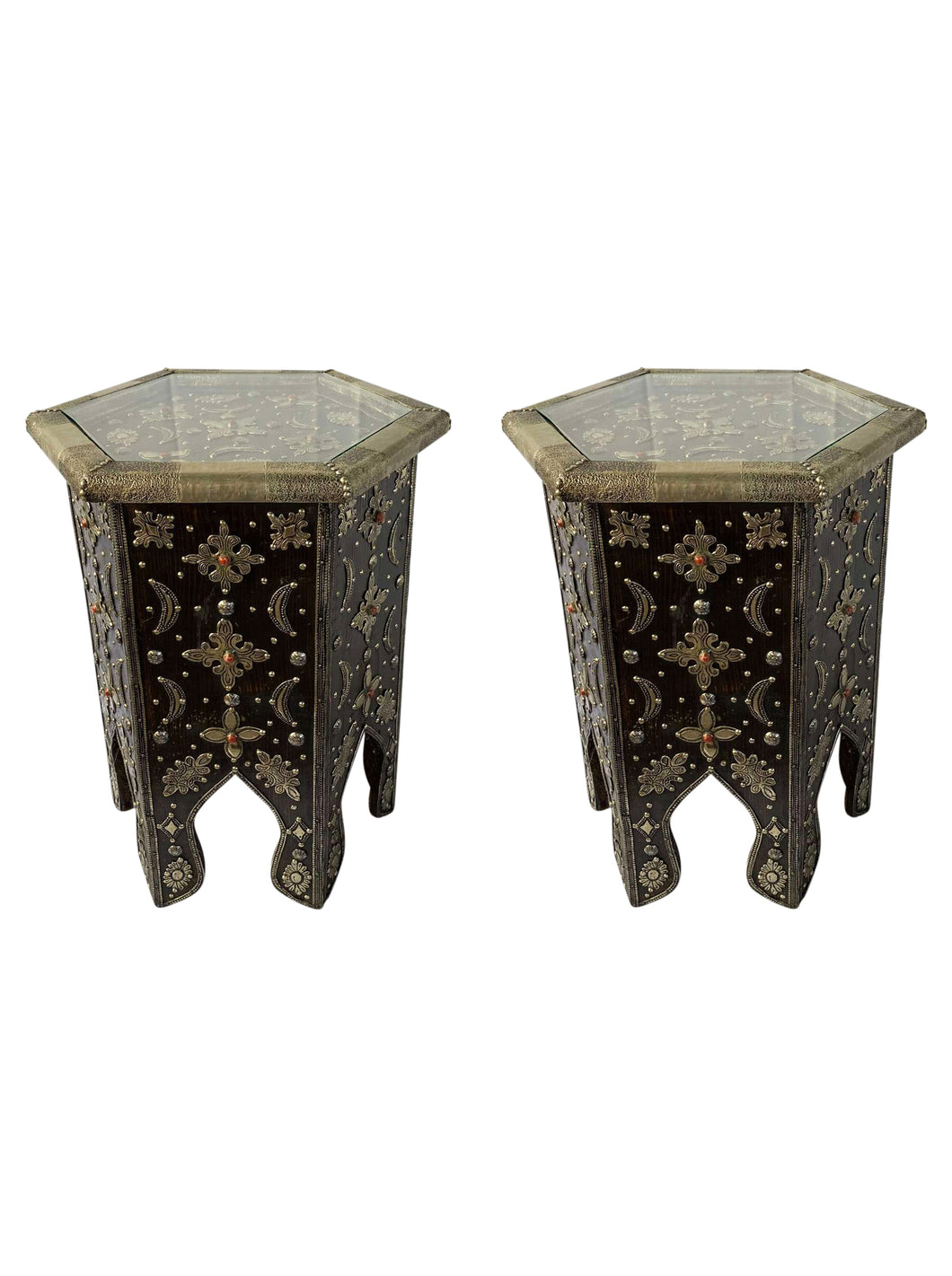 Moroccan Wood Embellished Side Tables (Pair)