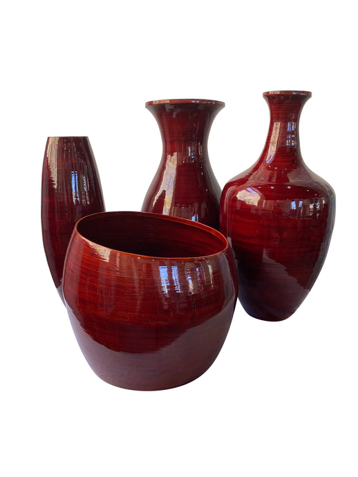 Collection of Burgundy Glazed Bamboo Vases