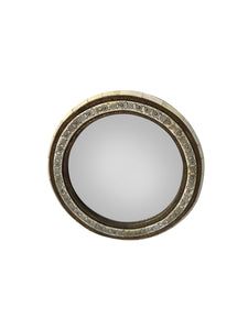 Round Moroccan Bone and Brass Mirror