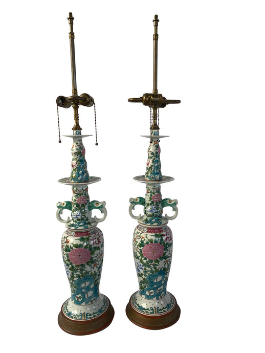 Vintage Painted Chinoiserie Style Lamp (Pair)