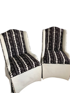 Custom Fabric Slipper Accent Chairs (Pair)