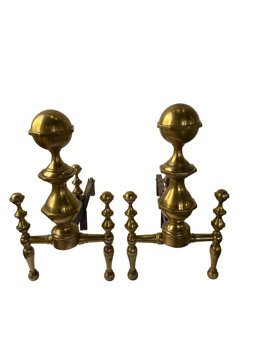 Antique English Brass Andirons
