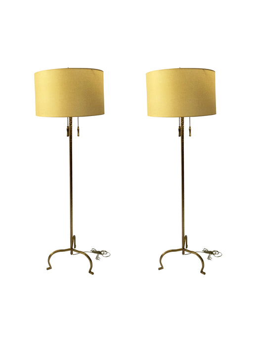 Vintage Hammered Brass Floor Lamps (Pair)
