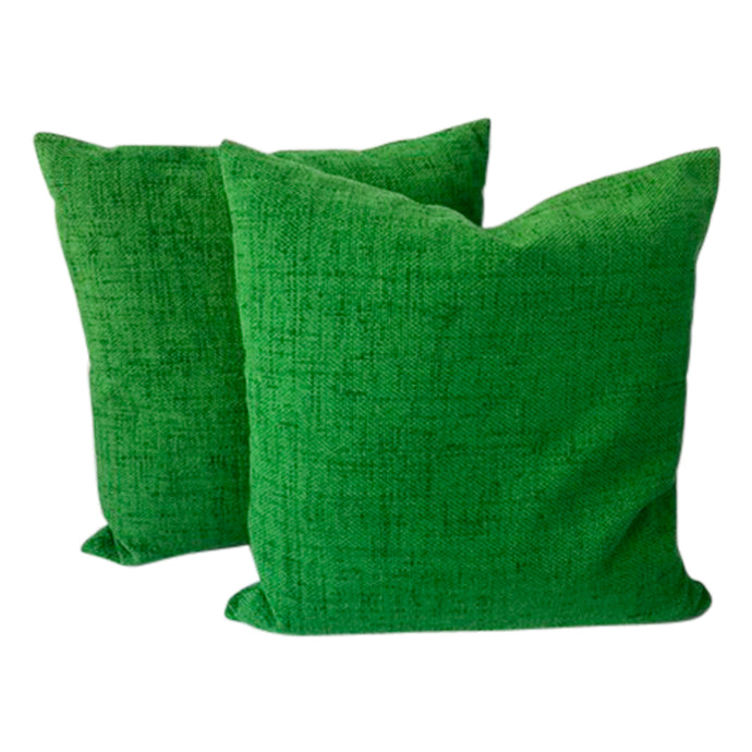 Carlton Varney Emerald Green Chenille Pillows (Pair)