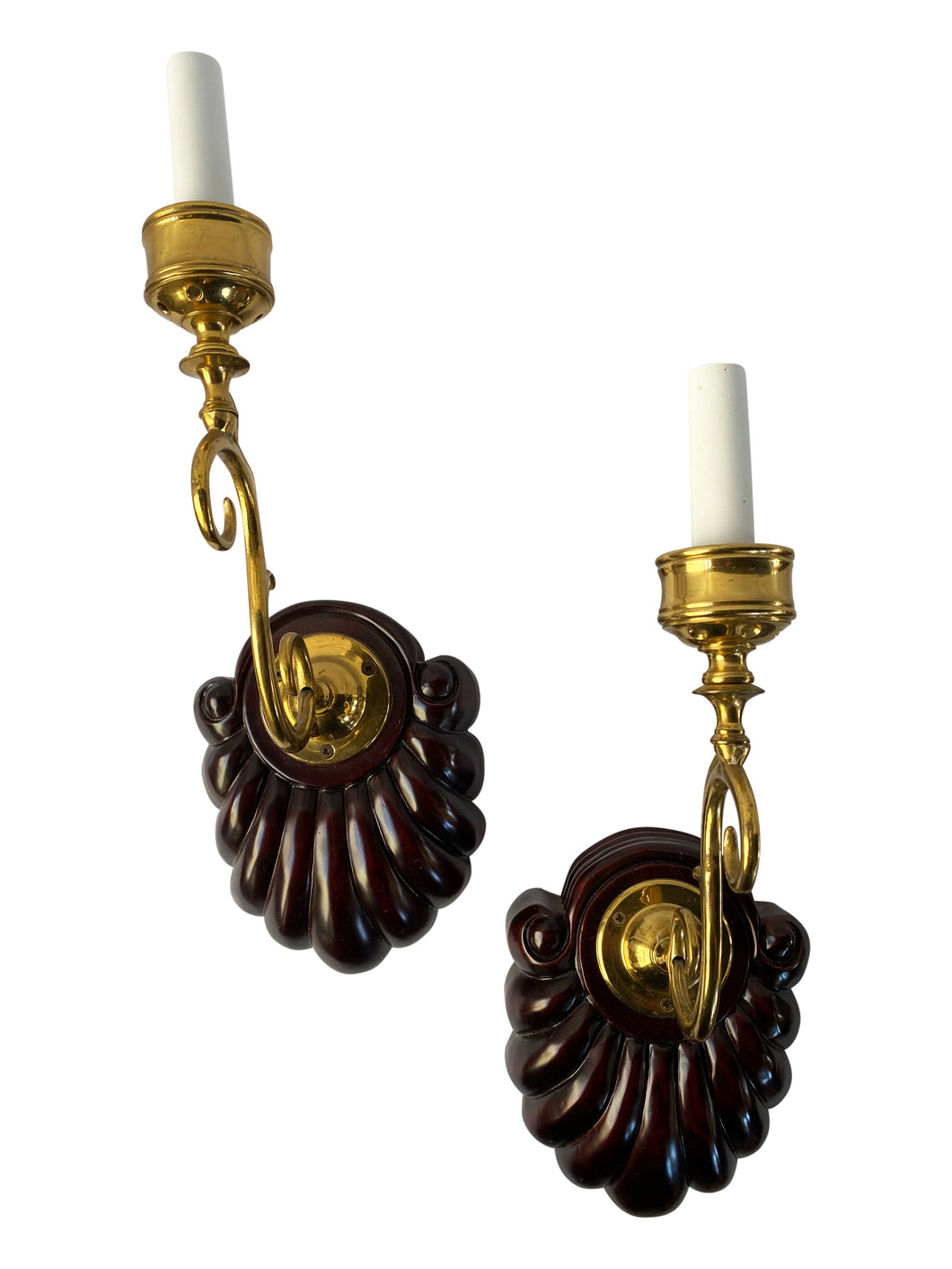 Vintage Hand Carved Wood and Brass Wall Sconces (Pair)