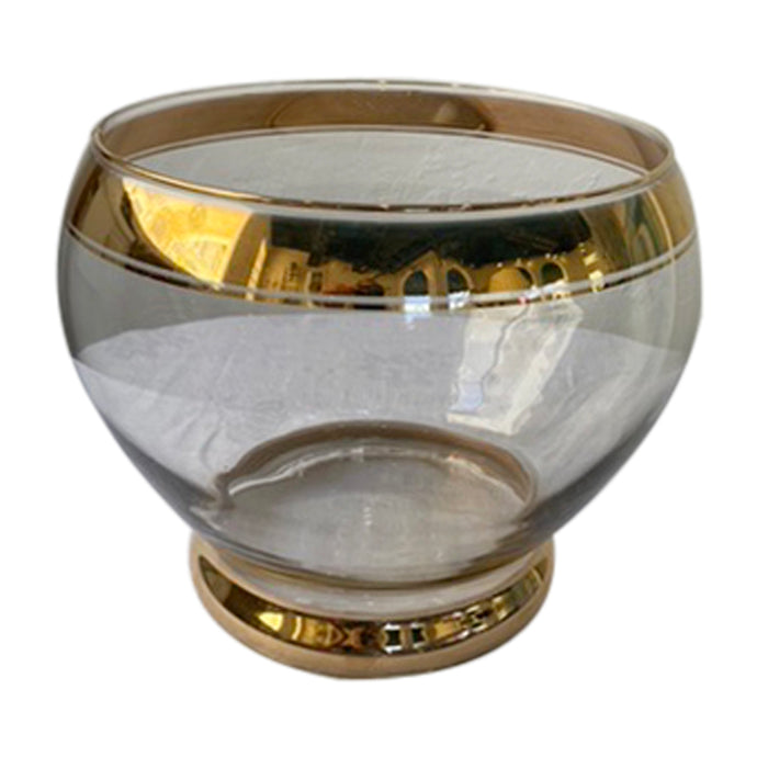 Mid-Century Gold-Trimmed Decorative Glass Bowl