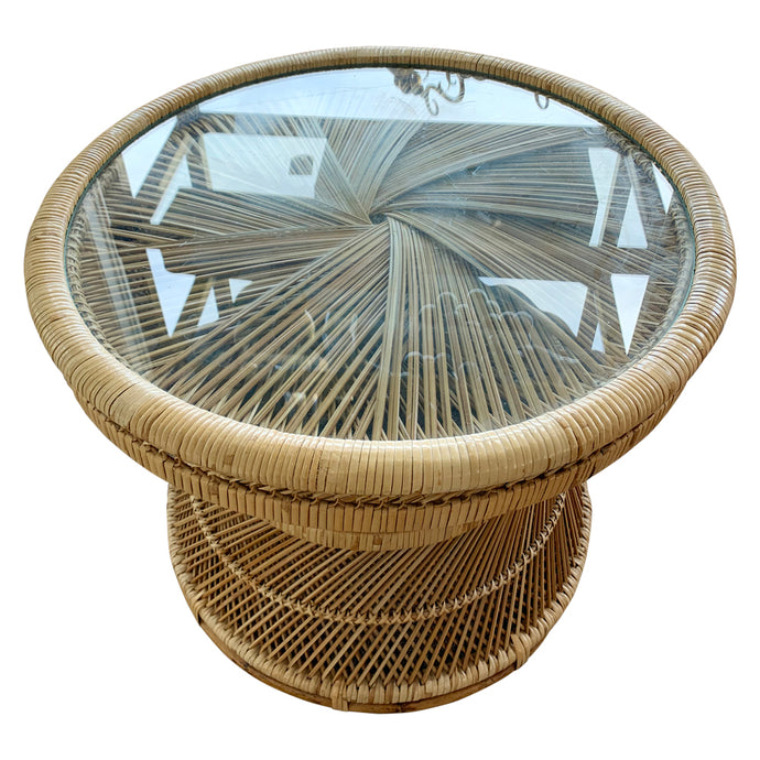 Mid-Century Rattan & Glass Top Side Table