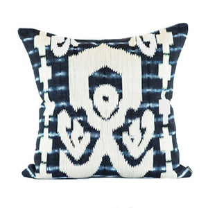 SHIBORI IKAT BLUE WHITE PILLOW