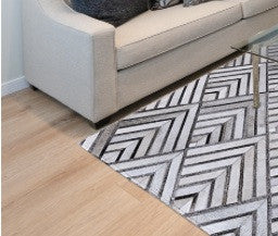 GREY PATCHWORK COW HIDE RUG