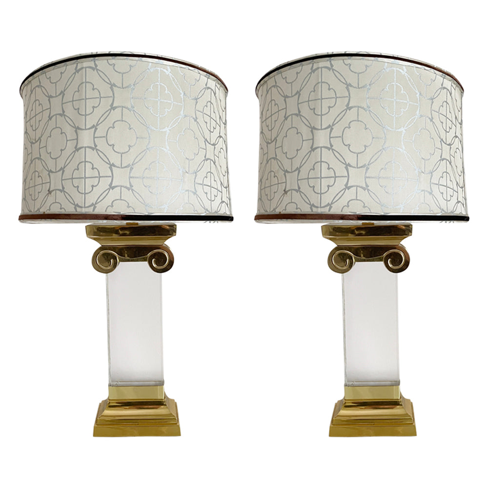 Vintage Glass and Brass Column Lamps (Pair)