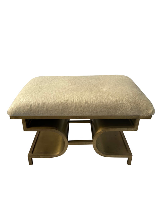 Antiqued Brass & Ivory Hide Bench